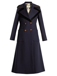 Gucci Double Breasted Peak Lapel Wool Coat Navy