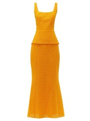 Rebecca De Ravenel Penelope Broderie Anglaise Cotton Maxi Dress Orange