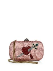 Gucci Broadway Brocade Embroidered Clutch Pink