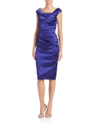 Talbot Runhof Ruched Satin Sheath Cobalt