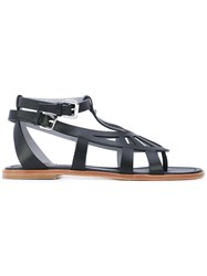 Pollini Strappy Sandals Women Leather 36 Black