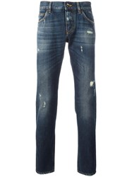 Dolce And Gabbana Ripped Detail Jeans Blue