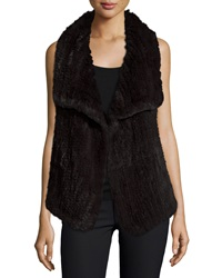 Neiman Marcus Cashmere Collection Draped Hare Fur And Cashmere Vest