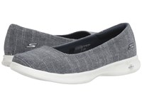Skechers Go Step Lite Blush Navy White Women's Slip On Shoes Blue