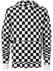 Amiri Hooded Checker Print Sweatshirt Men Cotton M Black