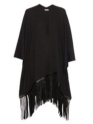Vince Fringed Leather Wool And Cashmere Blend Poncho