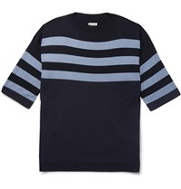 Camoshita Striped Wool Sweater Navy