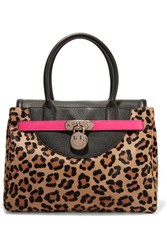 Hill And Friends Happy Neon Leather Trimmed Leopard Print Calf Hair Tote Leopard Print