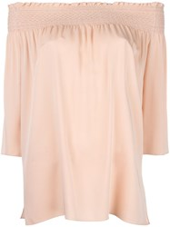 Theory Off Shoulders Ruffled Blouse Pink Purple
