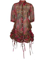 Jean Paul Gaultier Vintage Gathered Detailed Shirt Dress Pink And Purple
