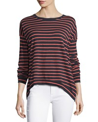 Minnie Rose Long Sleeve Striped Crewneck Cotton Sweater Navy Coral