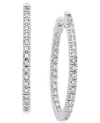 Macy's Diamond Oval In And Out Hoop Earrings In 14K White Gold 1 2 Ct. T.W.