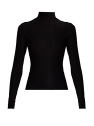 Acne Studios Ida Roll Neck Ribbed Knit Sweater Black