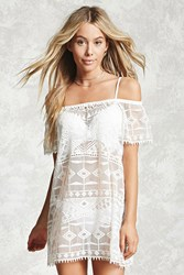 Forever 21 Crochet Embroidered Cover Up Cream