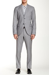 Tiger Of Sweden Gray Two Button Peak Lapel Wool Suit