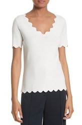 Milly Women's Scallop Top White