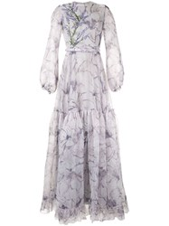 Costarellos Floral Gown Grey