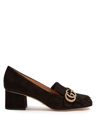 Gucci Marmont Fringed Suede Loafers Black