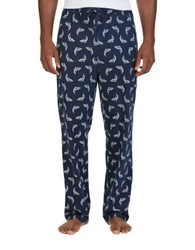 Nautica Lightweight Sueded Knit Dolphin Print Sleep Pants Navy