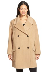 Pink Tartan Oversize Double Breasted Coat Camel