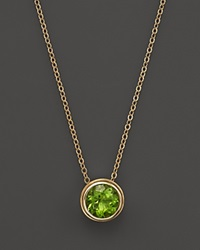 Bloomingdale's Peridot Bezel Set Pendant Necklace In 14K Yellow Gold 17 Green Gold