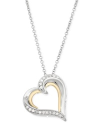 Macy's Diamond Heart Pendant Necklace 1 10 Ct. T.W. In 14K Gold And Sterling Silver