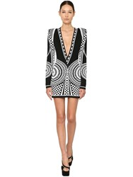 Balmain Jacquard Knit Mini Dress Black