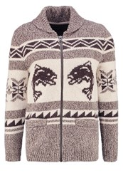 Abercrombie And Fitch Trout Cowichan Cardigan Med Grey Flat Brown