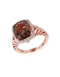 Effy Sienna Smoky Quartz Diamond And 14K Rose Gold Ring