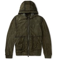 Berluti Suede Hooded Bomber Jacket Green