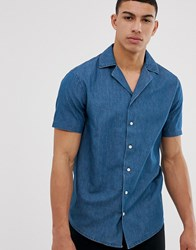 Solid Slim Fit Shirt Revere Collar Chambray Blue