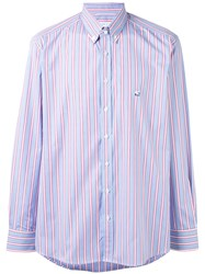 Etro Striped Button Up Shirt Men Cotton 44 Blue