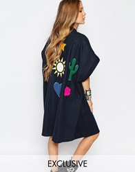 Reclaimed Vintage Oversized Festival Kimono Jacket With Back Patches Navy