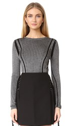 Diane Von Furstenberg Long Sleeve Knit Pull Over Ivory Black