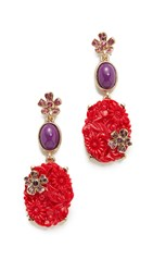 Oscar De La Renta Floral Crystal Resin Earrings Hot Pink