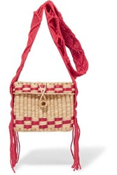 Nannacay Roge Small Woven Raffia Tote Red