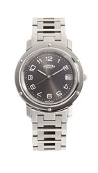 Wgaca What Goes Around Comes Around 29Mm Hermes Clipper Gm Watch Black Silver