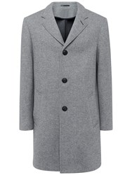 Jaeger Double Faced Herringbone Wool Coat Grey