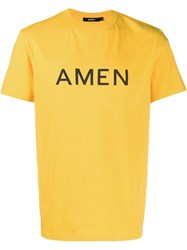 Amen Printed Logo T Shirt Yellow