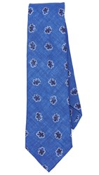 Thomas Mason Leaf Print Tie Blue