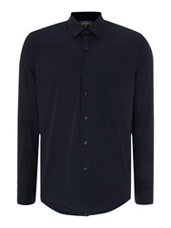 Peter Werth Henshall Polka Dot Shirt Airforce Blue