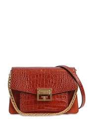 Givenchy Small G3 Croc Embossed Leather Bag Cognac