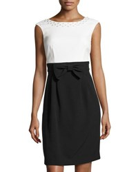 Tahari By Arthur S. Levine Bead Embellished Bow Waist Crepe Dress White Black