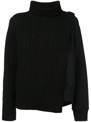 Sacai Layered Cable Knit Tabard Sweatshirt Blue