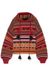 Etro Tasseled Wool Blend Jacquard Hoodie Red