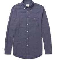 Nn.07 Derek Slim Fit Melange Cotton Shirt Blue