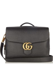 Gucci Gg Logo Leather Briefcase Black