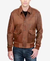 Lucky Brand Men's Leather Bomber Jacket Rust