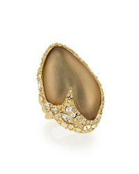 Alexis Bittar Crystal Encrusted Lucite Cocktail Ring Warm Gray
