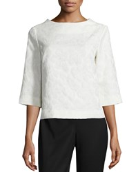 Lafayette 148 New York Malina Half Sleeve Round Neck Blouse Cloud Women's